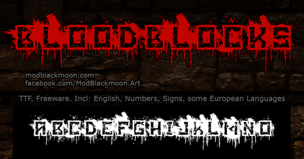Logo of the Blood Blocks font