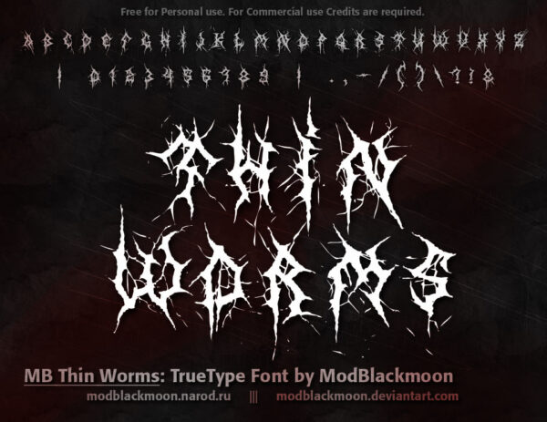 Logo of the MB Thin Worms font