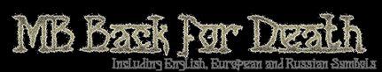 Logo of the MB Back for Death font