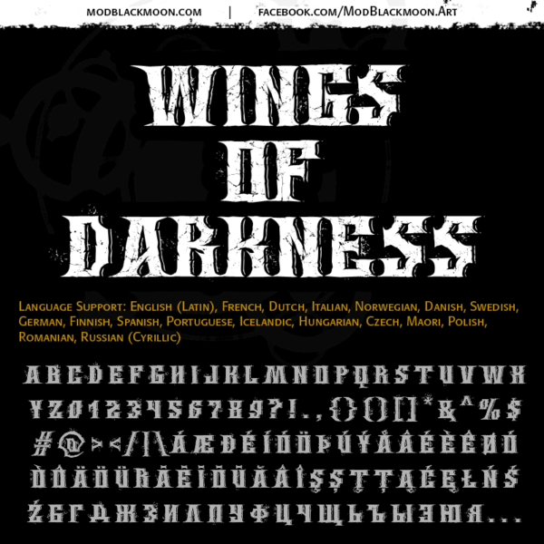 Logo of the Wings of Darkness font